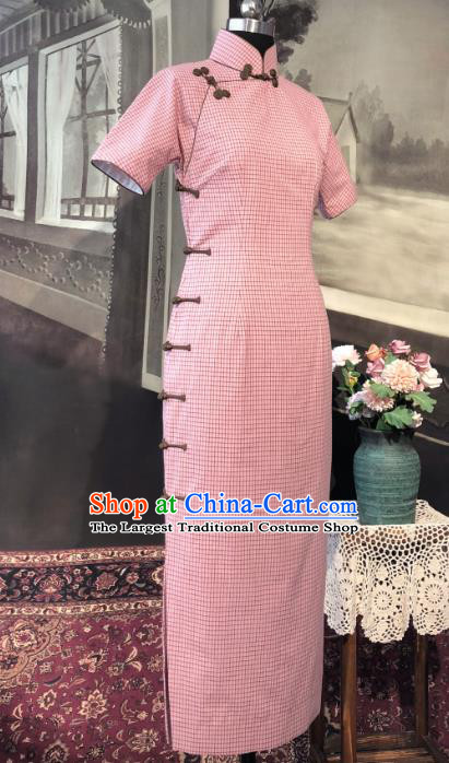 Chinese Traditional Pink Flax Qipao Dress National Tang Suit Cheongsam Costumes for Women