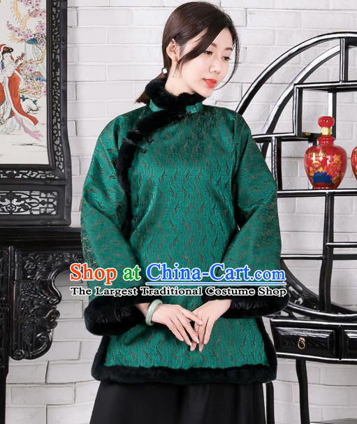 Chinese Traditional Winter Green Coat National Tang Suit Overcoat Costumes for Women