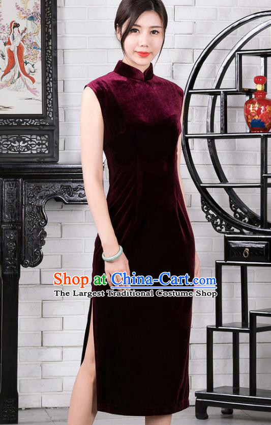Chinese Traditional Wine Red Velvet Sleeveless Qipao Dress National Tang Suit Cheongsam Costumes for Women