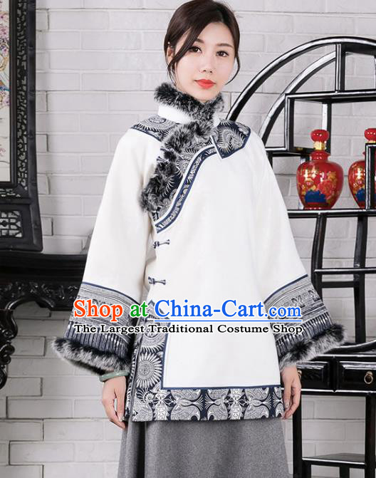 Chinese Traditional Winter White Woolen Coat National Tang Suit Overcoat Costumes for Women