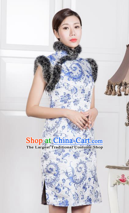 Chinese Traditional Printing White Silk Sleeveless Qipao Dress National Tang Suit Cheongsam Costumes for Women