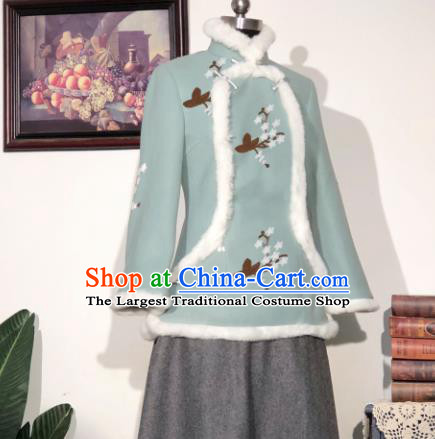 Chinese Traditional Winter Light Green Woolen Coat National Tang Suit Overcoat Costumes for Women