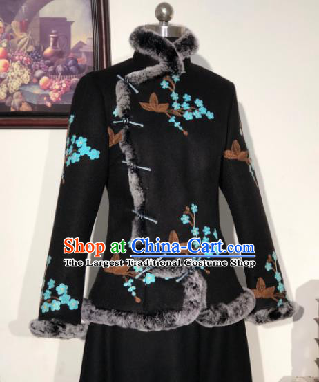 Chinese Traditional Winter Black Woolen Coat National Tang Suit Overcoat Costumes for Women