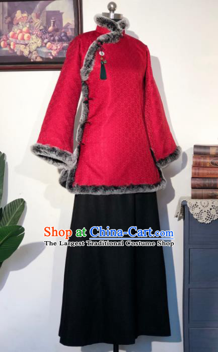 Chinese Traditional Winter Red Coat National Tang Suit Overcoat Costumes for Women