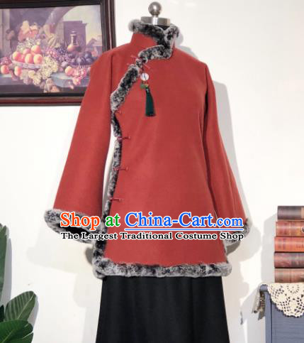 Chinese Traditional Winter Purplish Red Coat National Tang Suit Overcoat Costumes for Women