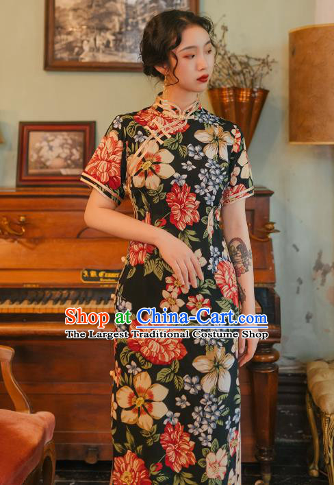 Chinese Traditional Retro Printing Black Qipao Dress National Tang Suit Cheongsam Costumes for Women
