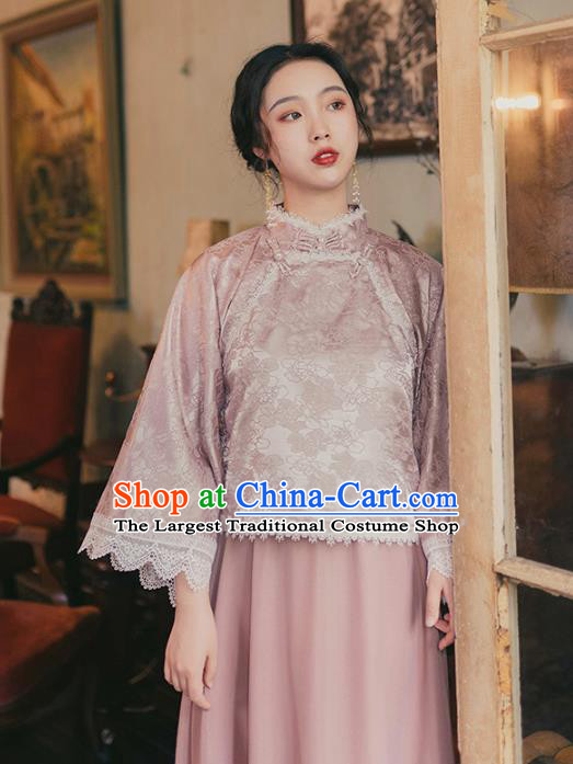 Chinese Traditional Tang Suit Pink Shirt and Skirt National Tang Suit Costumes for Women