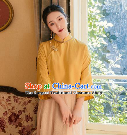 Chinese Traditional Tang Suit Yellow Shirt National Blouse Upper Outer Garment Costumes for Women