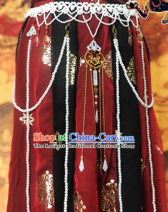 Chinese Traditional Tang Dynasty Princess Pearls Waist Accessories Ancient Court Belt Tassel Pendant for Women
