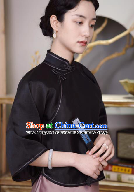 Chinese Traditional Tang Suit Black Organza Blouse National Shirt Upper Outer Garment Costumes for Women