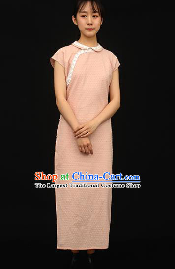 Republic of China Traditional Pink Cotton Qipao Dress Chinese National Tang Suit Cheongsam Costumes for Women