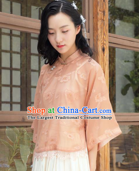 Chinese Traditional Tang Suit Orange Blouse National Shirt Upper Outer Garment Costumes for Women