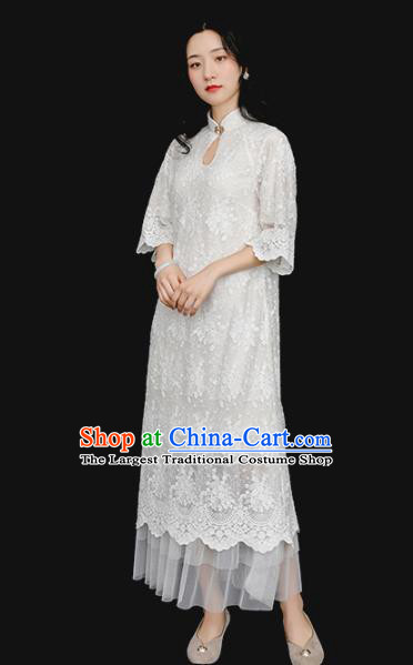Republic of China Traditional White Lace Qipao Dress Chinese National Tang Suit Cheongsam Costumes for Women