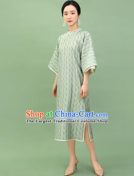 Republic of China Traditional Green Lace Qipao Dress Chinese National Tang Suit Cheongsam Costumes for Women