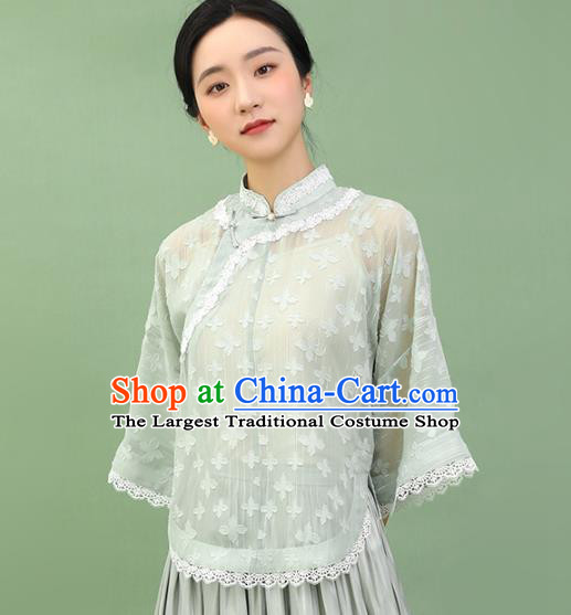 Chinese Traditional Tang Suit Light Green Blouse National Shirt Upper Outer Garment Costumes for Women