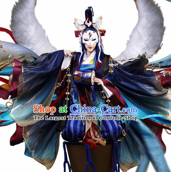 Japanese Traditional Cosplay Onmyoji Blue Clothing Ancient Knight Swordsman Costumes for Men