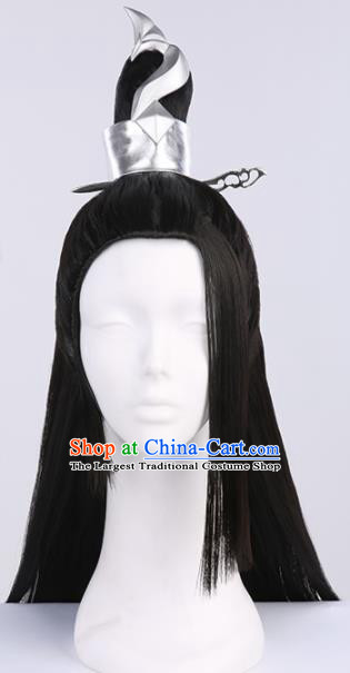 Chinese Traditional Han Dynasty Taoist Black Wigs Ancient Swordsman Wig Sheath for Men