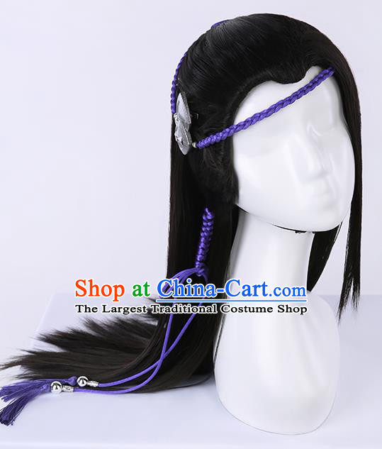 Chinese Traditional Ming Dynasty Taoist Black Wigs Ancient Swordsman Wig Sheath for Men