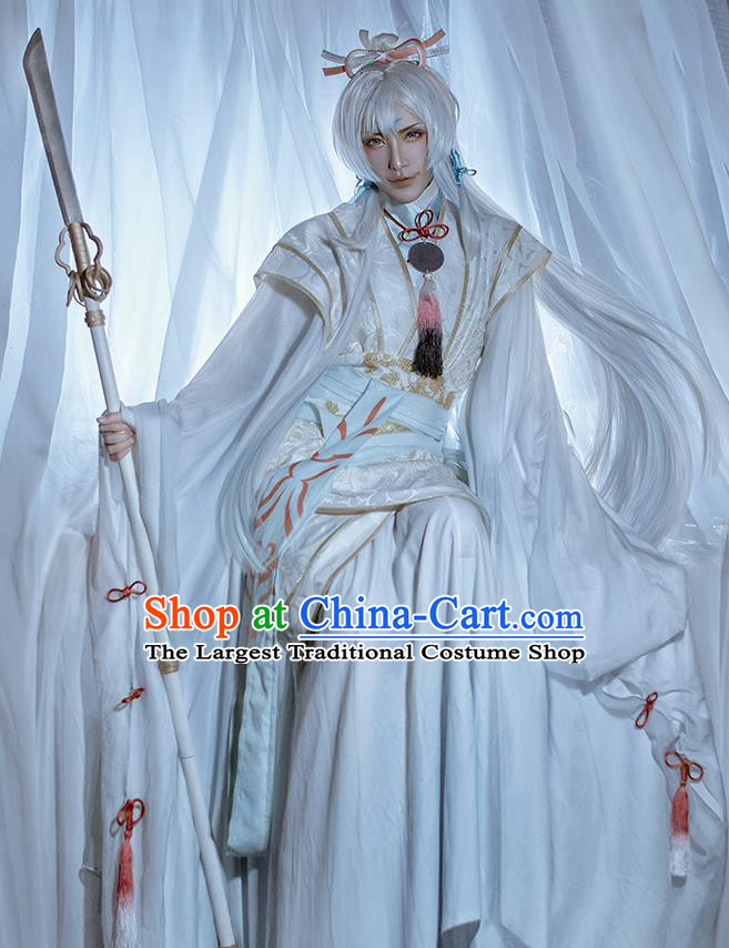 Chinese Traditional Cosplay Royal Prince White Clothing Ancient Swordsman Costumes for Men