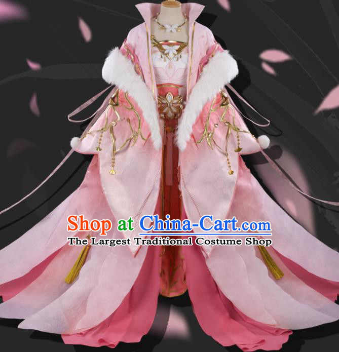 Chinese Cosplay Ming Dynasty Princess Pink Hanfu Dress Traditional Ancient Female Swordsman Costumes for Women