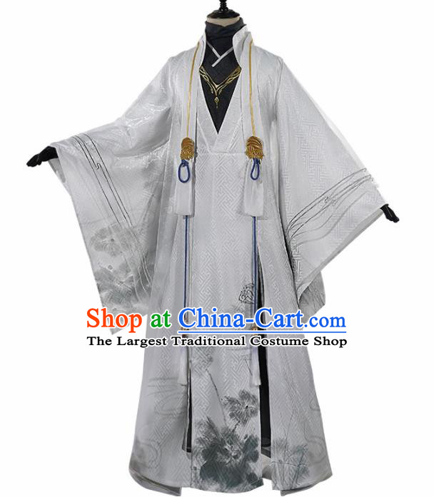 Chinese Traditional Cosplay Royal Highness White Clothing Ancient Swordsman Costumes for Men