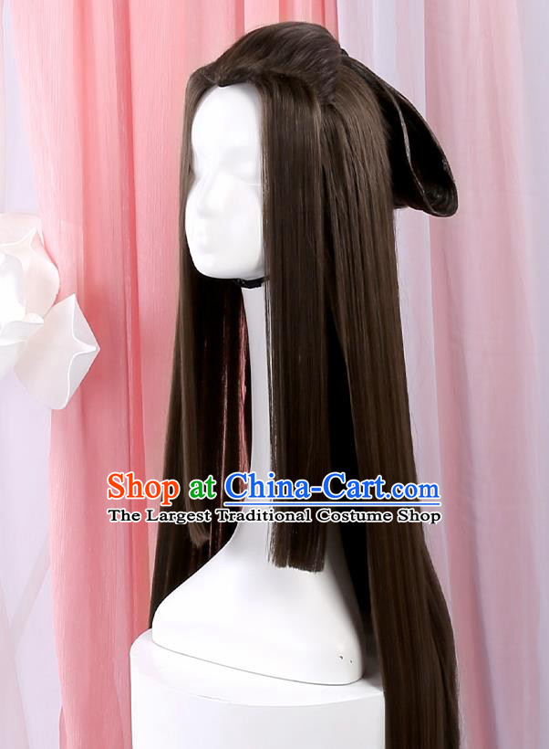 Chinese Traditional Cosplay Onmyoji Black Wigs Ancient Swordsman Wig Sheath for Men