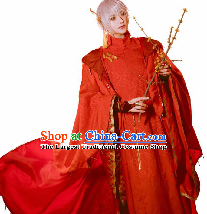Japanese Traditional Cosplay Royal Highness Red Clothing Ancient Swordsman Costumes for Men