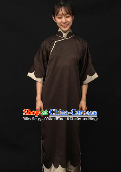 Republic of China Traditional Brown Qipao Dress Chinese National Tang Suit Cheongsam Costumes for Women