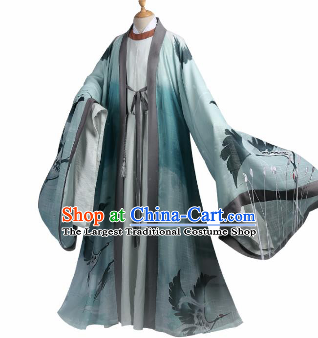 Chinese Traditional Cosplay Nobility Childe Green Clothing Ancient Swordsman Costumes for Men