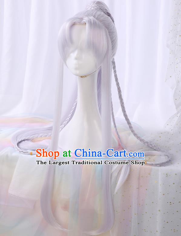 Chinese Traditional Cosplay Swordsman Light Purple Wigs Ancient Knight Wig Sheath for Men