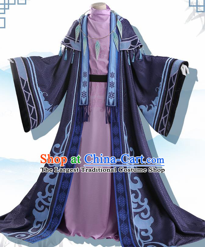 Chinese Traditional Cosplay Knight Purple Clothing Ancient Swordsman Costumes for Men