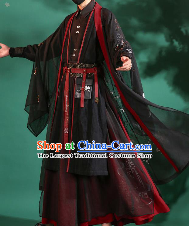 Chinese Traditional Cosplay Knight Black Clothing Ancient Swordsman Costumes for Men