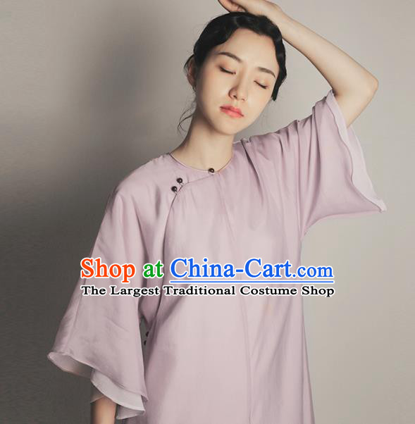 Republic of China Traditional Lilac Organza Qipao Dress Chinese National Tang Suit Cheongsam Costumes for Women