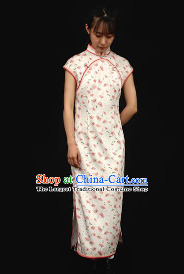 Republic of China Traditional Printing White Qipao Dress Chinese National Tang Suit Cheongsam Costumes for Women