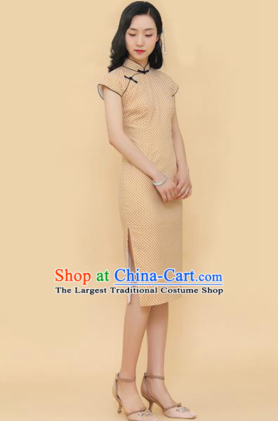 Republic of China Traditional Light Yellow Qipao Dress Chinese National Tang Suit Cheongsam Costumes for Women