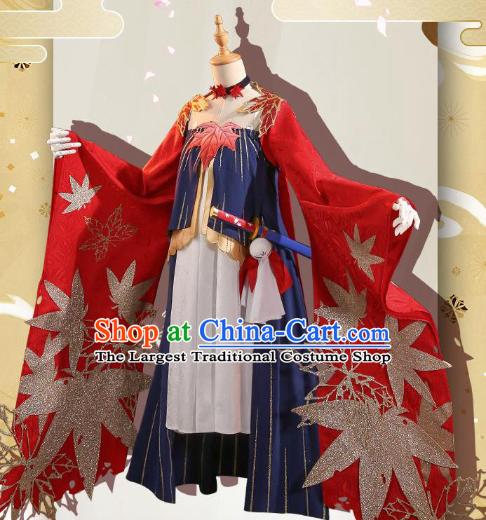 Japanese Traditional Cosplay Geisha Red Kimono Dress Japan Onmyoji Costumes for Women