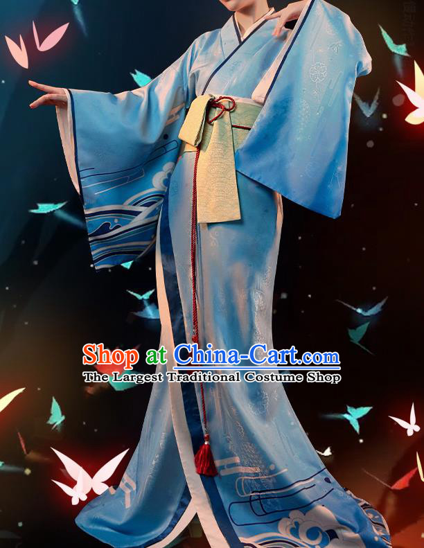 Japanese Traditional Cosplay Geisha Blue Kimono Dress Japan Onmyoji Costumes for Women