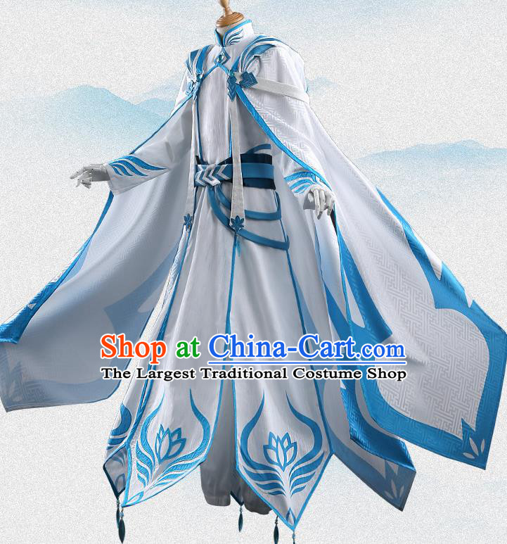 Chinese Traditional Cosplay Knight White Clothing Ancient Swordsman Costumes for Men