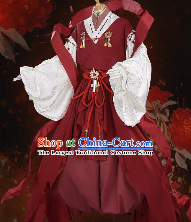 Japanese Traditional Cosplay Onmyoji Knight Red Clothing Ancient Swordsman Costumes for Men