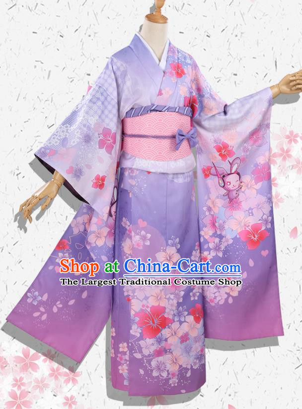 Japanese Traditional Cosplay Geisha Purple Kimono Dress Japan Onmyoji Yukata Costumes for Women