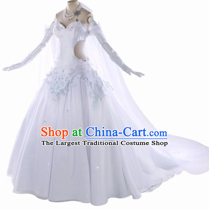 Top Cosplay Queen White Wedding Dress Modern Dance Costumes for Women