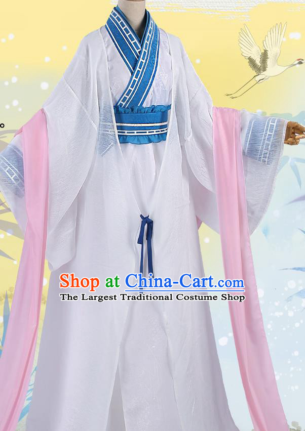 Chinese Traditional Cosplay Kawaler White Clothing Ancient Prince Swordsman Costumes for Men