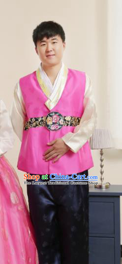 Korean Traditional Rosy Vest and Navy Pants Hanbok Asian Korea Bridegroom Fashion Costume for Men
