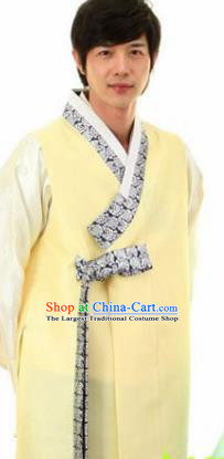Korean Traditional Wedding Yellow Vest and Pants Hanbok Asian Korea Bridegroom Fashion Costume for Men
