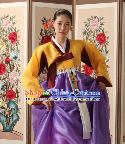 Korean Traditional Court Queen Hanbok Yellow Blouse and Purple Dress Garment Asian Korea Fashion Costume for Women