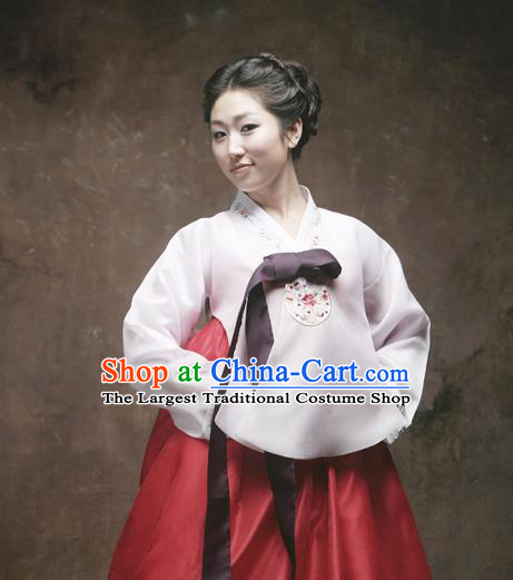 Korean Traditional Dance Hanbok White Blouse and Red Dress Garment Asian Korea Fashion Costume for Women
