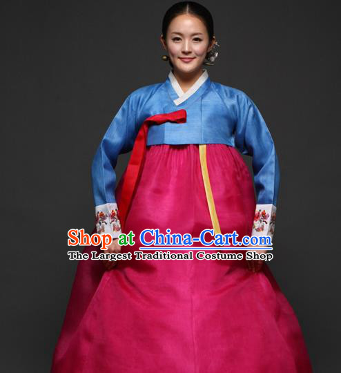 Korean Traditional Court Hanbok Blue Satin Blouse and Rosy Dress Garment Asian Korea Fashion Costume for Women