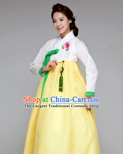 Korean Traditional Court Hanbok White Blouse and Yellow Dress Garment Asian Korea Fashion Costume for Women