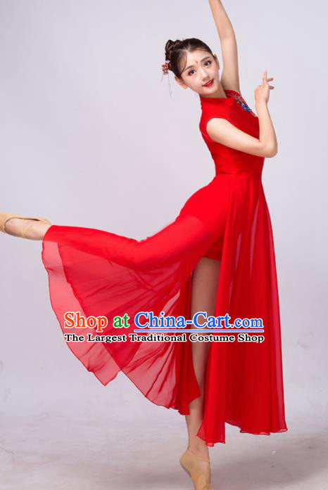 Chinese Traditional Classical Dance Ballet Red Dress Umbrella Dance Stage Performance Costume for Women