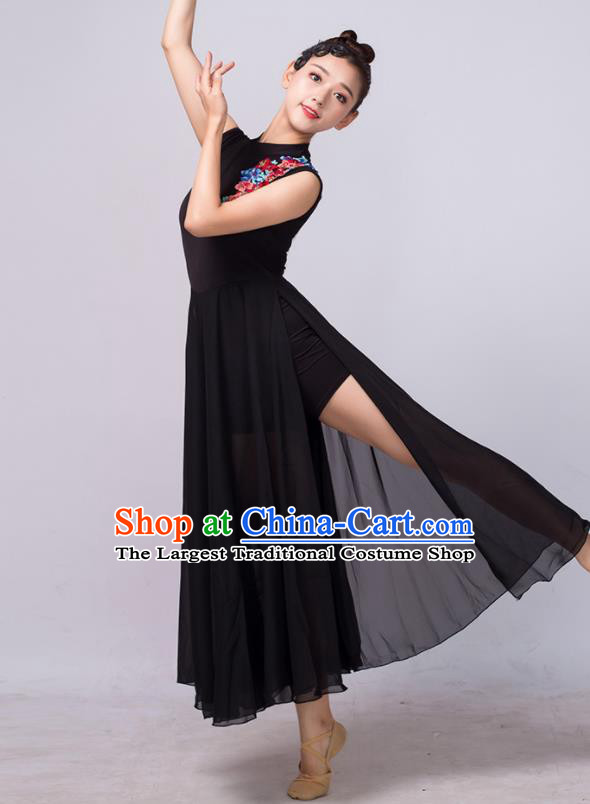Chinese Traditional Classical Dance Ballet Black Dress Umbrella Dance Stage Performance Costume for Women
